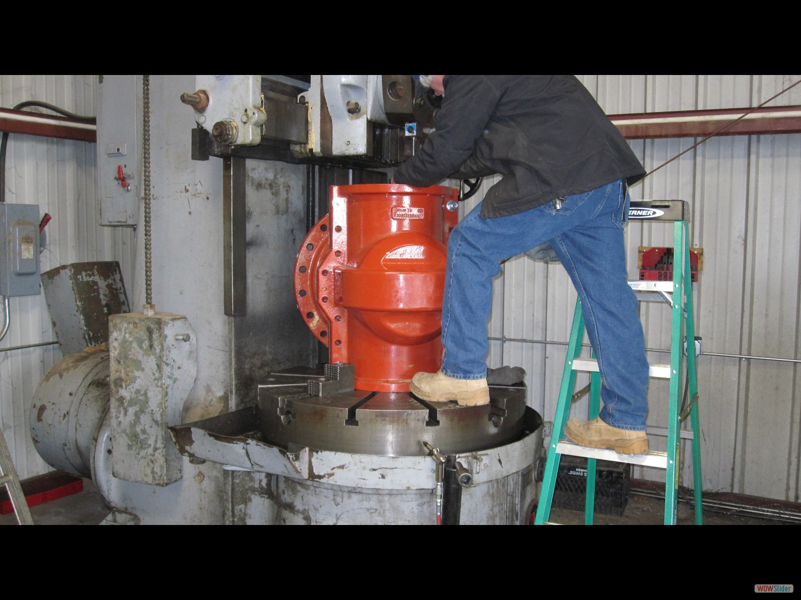 Mike Turning down the 12inch Insert Valve to fit the Pipe Exact OD